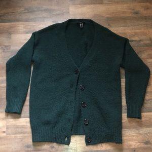 Green fuzzy oversized cardigan